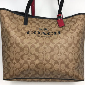 COACH Tan Coated Canvas Leather Shoulder Bag